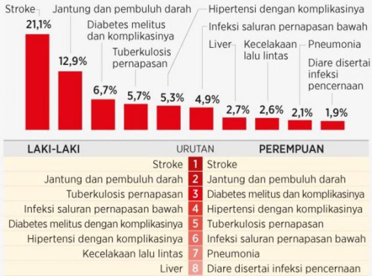Penyebab Kematian Tertinggi di Indonesia adalah Stroke dan Penyakit Jantung